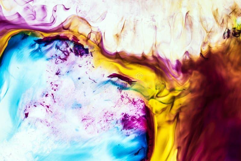Предпосылка красного, пинк, голубые, желтые, коричневые волны чернил иллюстрация штока