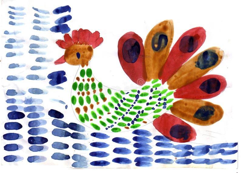 Предпосылка красочного петуха ребенка рисуя голубая иллюстрация штока