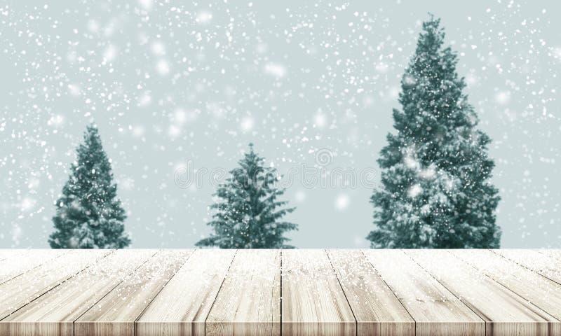 Предпосылка Кристмас и Новый Год Верхняя часть деревянного стола с нерезкостью Ch стоковое фото