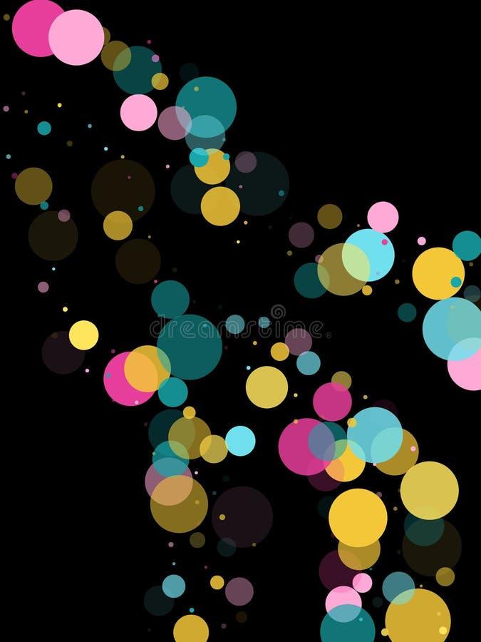 Предпосылка круглого confetti Мемфиса праздничная в cyan голубом, розовый и желтый Ребяческий вектор картины иллюстрация вектора