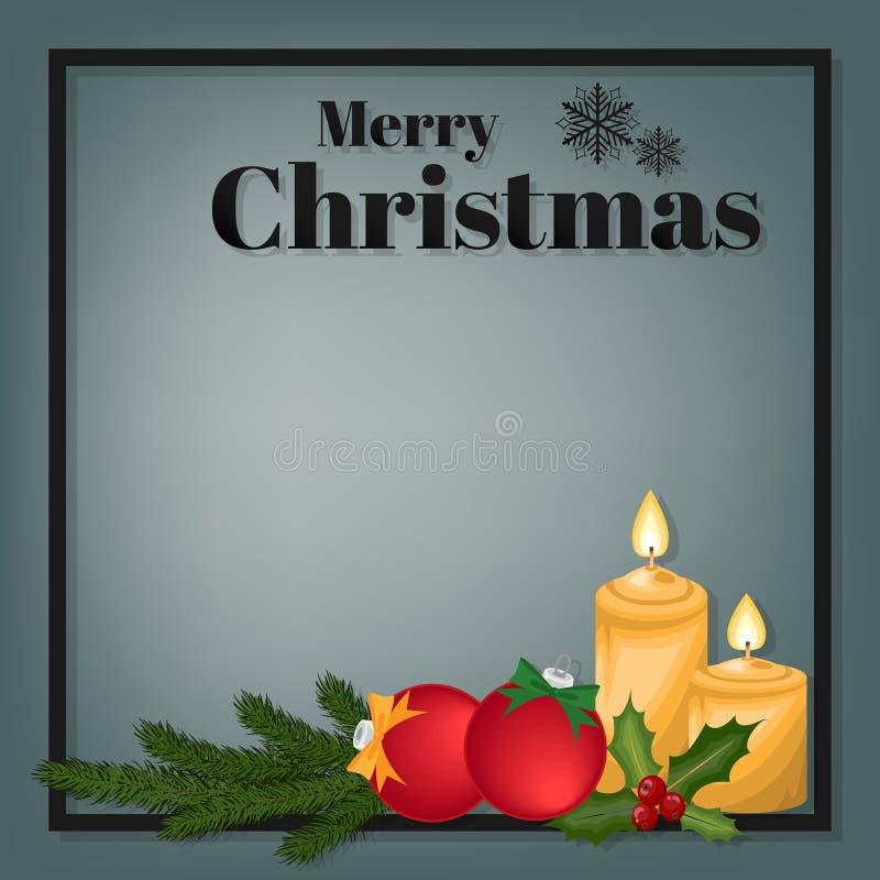 Предпосылка курортного сезона рождества со свечой рождества с шариками огня, ветви сосны, ягод падуба и рождества иллюстрация вектора
