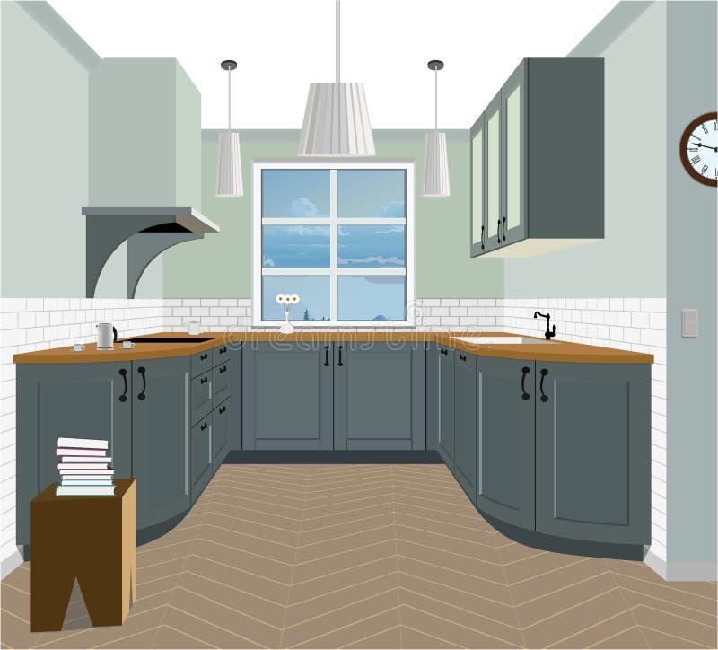 Предпосылка кухни внутренняя с мебелью Дизайн современной кухни Мебель символа, иллюстрация кухни иллюстрация вектора