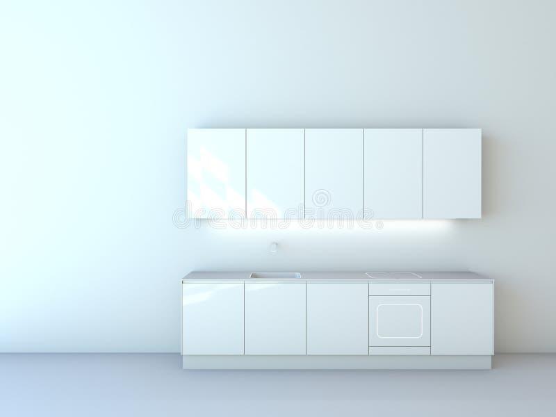 Предпосылка 01 кухонных шкафов современной кухни белая стоковое изображение