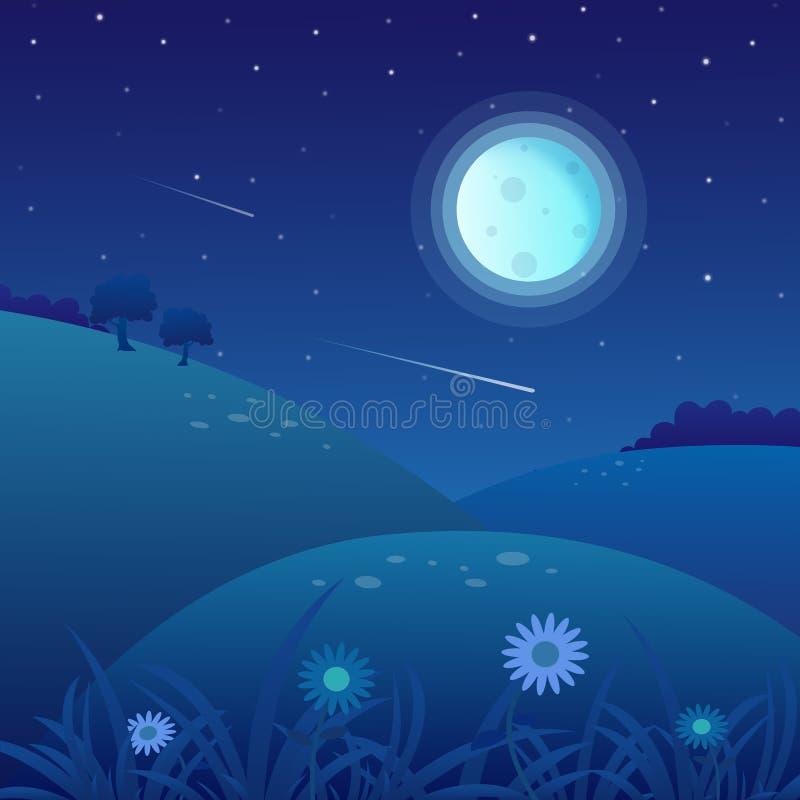 Предпосылка ландшафта весны на ноче с полнолунием и звёздным небом иллюстрация вектора