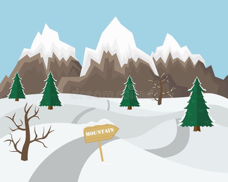 Предпосылка ландшафта горы зимы Плоская иллюстрация вектора бесплатная иллюстрация