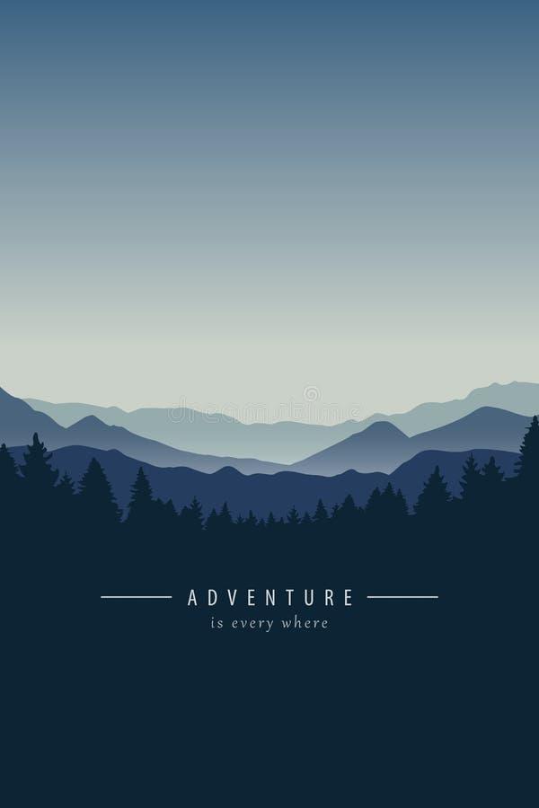 Предпосылка ландшафта горы приключения голубая иллюстрация штока