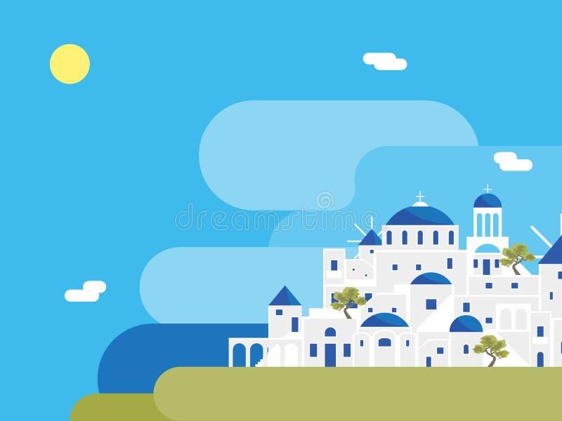 Предпосылка ландшафта деревни острова Santorini мультфильма r иллюстрация вектора