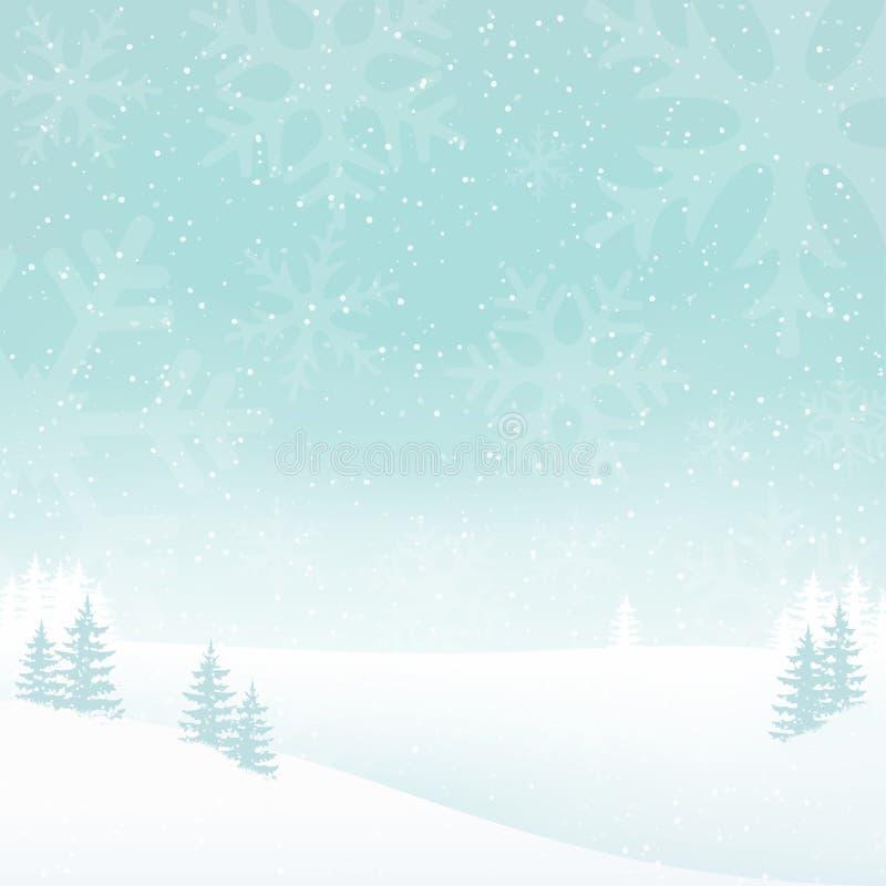 Предпосылка ландшафта зимы праздника туманная с падая снегом Белая предпосылка ландшафта с деревьями, снежинками бесплатная иллюстрация