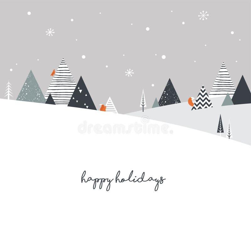 Предпосылка ландшафта зимы рождества Абстрактный вектор иллюстрация штока