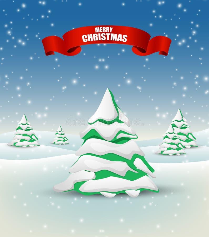Предпосылка ландшафта зимы со снежной рождественской елкой иллюстрация вектора