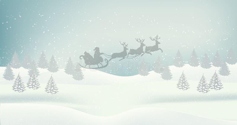 Предпосылка ландшафта красивой зимы рождества плоская Древесины леса рождества с горами Ландшафт вектора зимы Нового Года иллюстрация штока