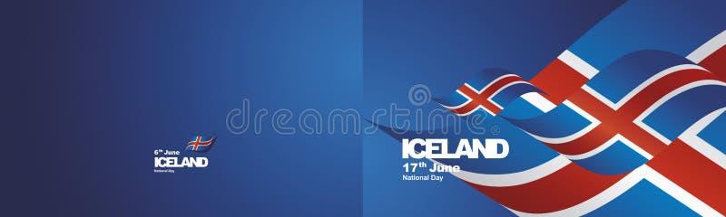 Предпосылка ландшафта створки ленты 2 флага национального праздника Исландии развевая иллюстрация штока
