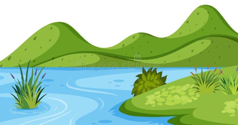 Предпосылка ландшафта с зелеными горой и рекой иллюстрация вектора