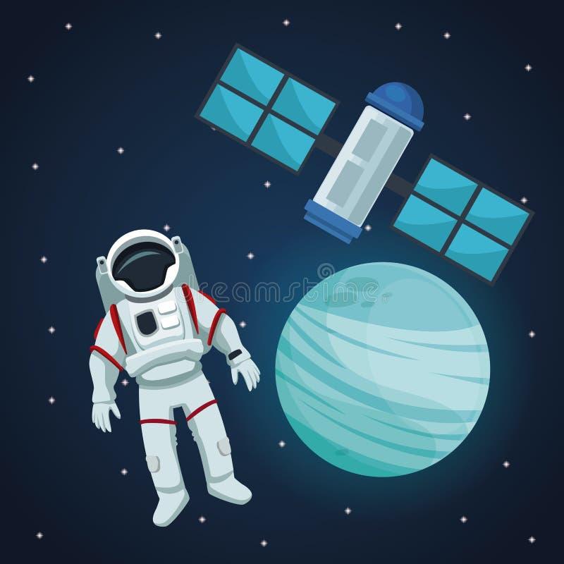 Предпосылка ландшафта цветового пространства с астронавтом и планетой Нептуна взгляда с спутником иллюстрация вектора
