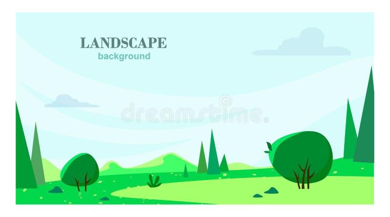 Предпосылка леса на открытом воздухе с горами Плоская иллюстрация вектора стиля мультфильма иллюстрация вектора