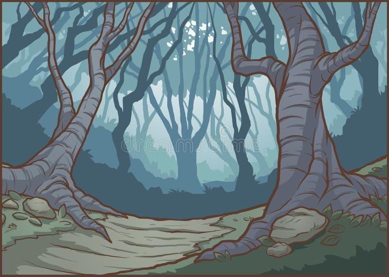 Предпосылка леса темного мультфильма туманная бесплатная иллюстрация