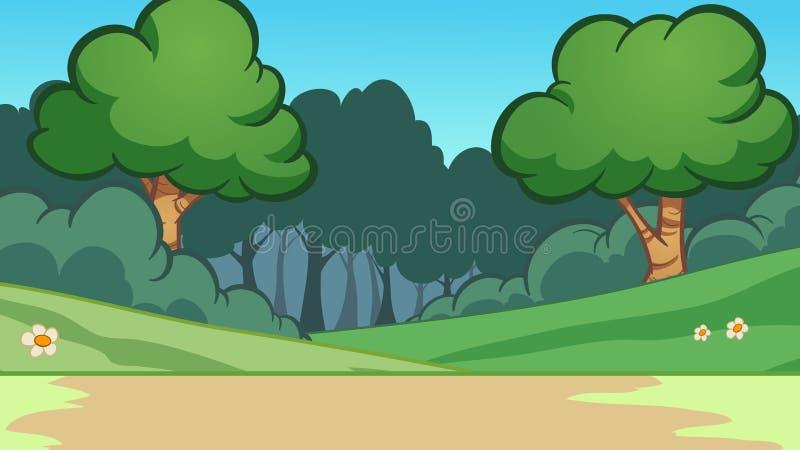 Предпосылка леса шаржа с деревьями иллюстрация штока
