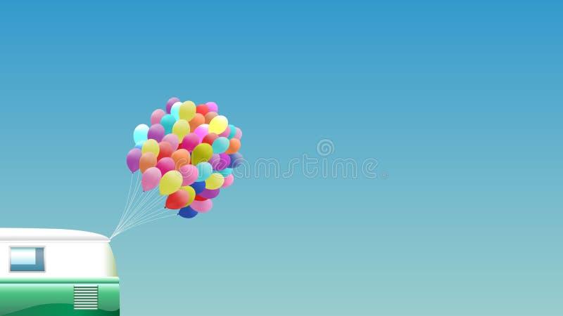 Предпосылка лета - зеленый ретро фургон с пуком красочных воздушных шаров иллюстрация вектора