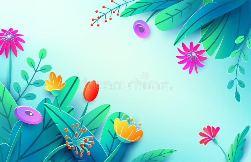 Предпосылка лета с бумажными отрезанными листьями цветков фантазии, изолированными на свете Фон весны минимального стиля 3d флори иллюстрация вектора
