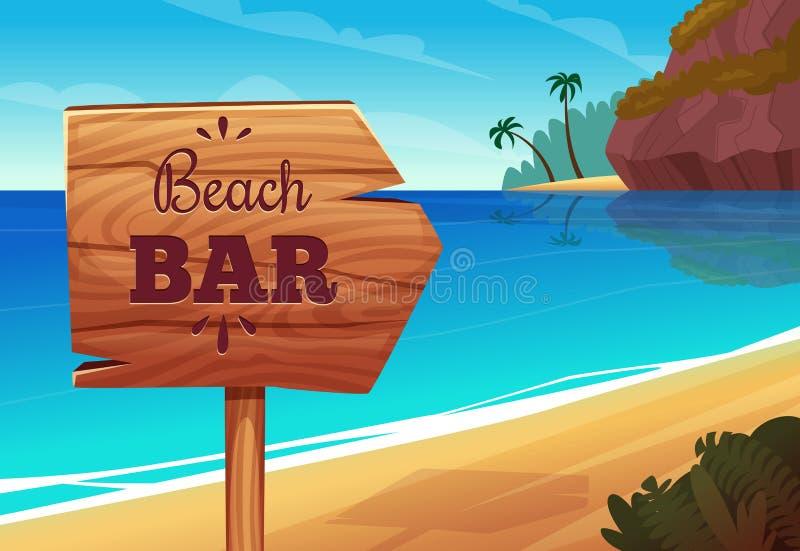 Предпосылка лета с деревянным шильдиком на пляже бесплатная иллюстрация