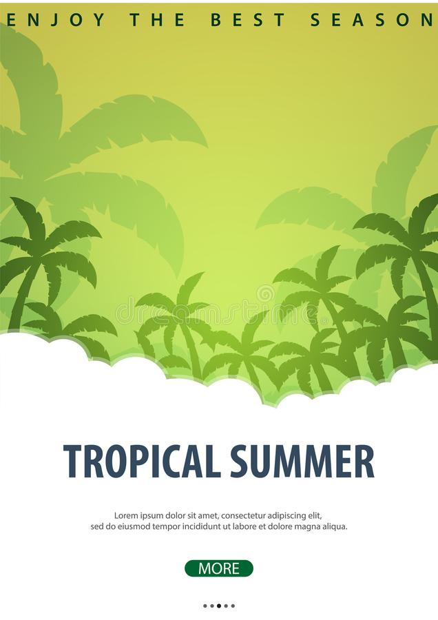 Предпосылка лета тропическая с ладонями Карточка приглашения рогульки плаката плаката лета взрослые молодые также вектор иллюстра бесплатная иллюстрация