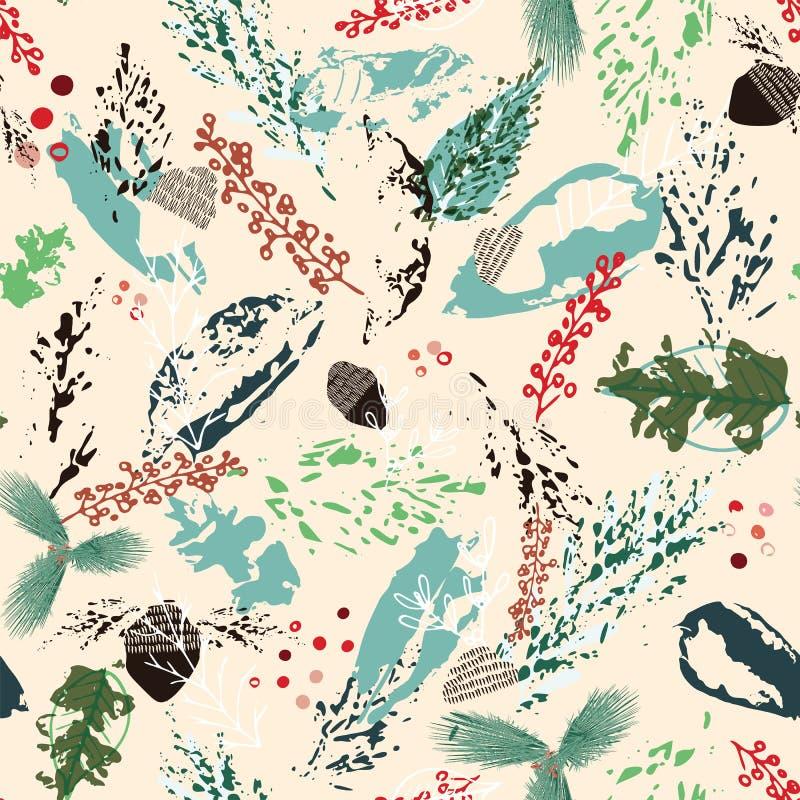 Предпосылка листвы зимы конспекта вектора безшовная Painterly дизайн цветочного узора Для упаковочной бумаги рождества и больше бесплатная иллюстрация