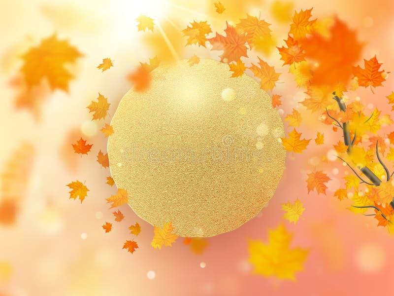 Предпосылка листьев осени с красный, оранжевый, и желтый падать 10 eps иллюстрация вектора