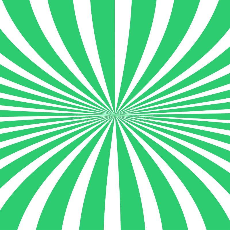Предпосылка лучей Солнца Лучи Солнца в спиральном дизайне Солнце излучает зеленый цвет r иллюстрация вектора