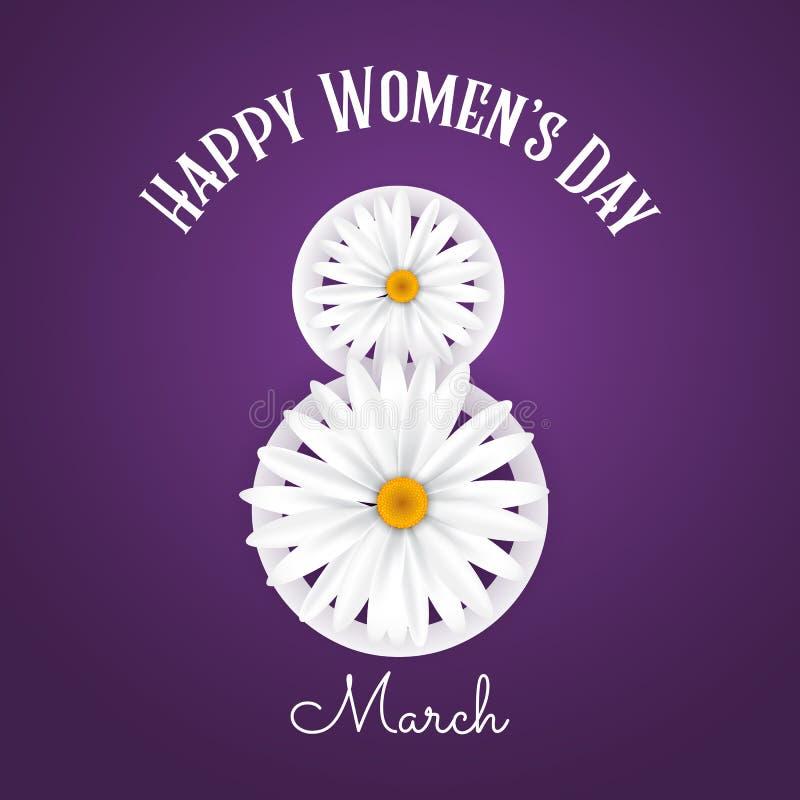 Предпосылка Международного женского дня с маргаритками иллюстрация штока