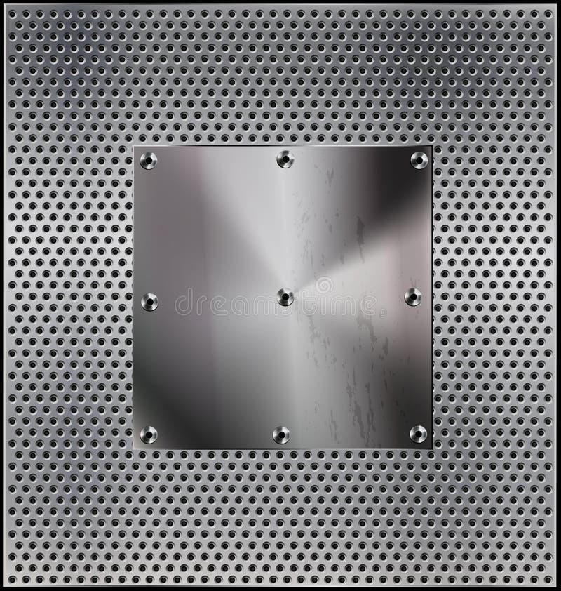 Предпосылка металла с отверстием иллюстрация штока