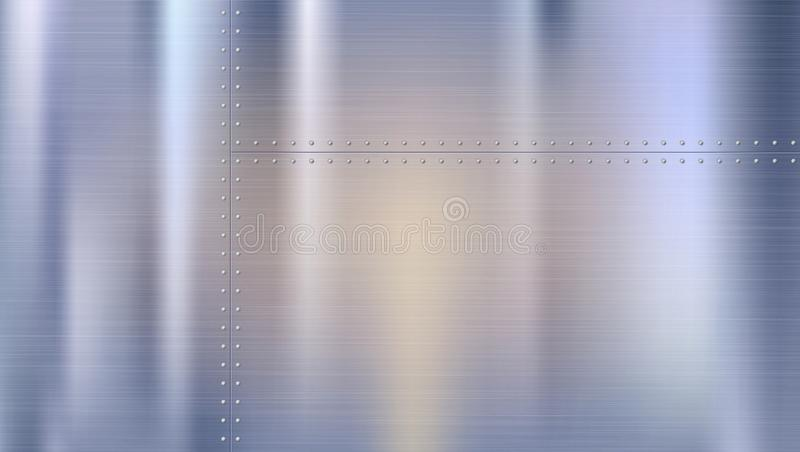Предпосылка металла с текстурой и заклепками Polished заклепал металлические листы с отражениями и запачкал отражения бесплатная иллюстрация