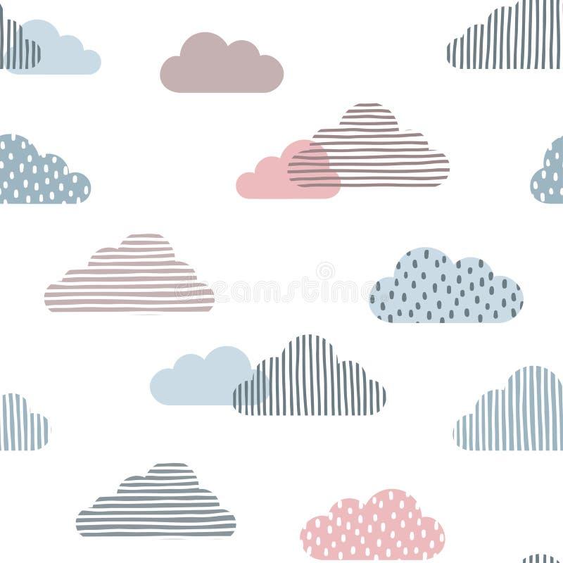 Предпосылка милых облаков безшовная иллюстрация штока