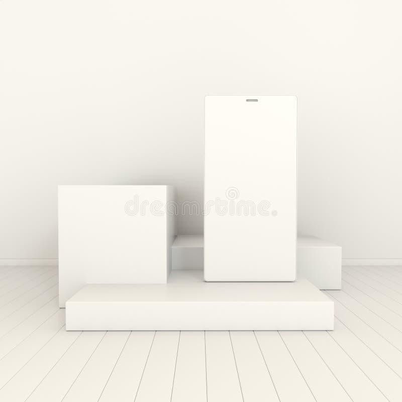 Предпосылка модель-макета смартфона в минимальном стиле Frameless белый мобильный телефон 3d представить Концепция устройства тех иллюстрация вектора