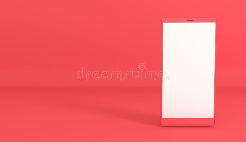 Предпосылка модель-макета смартфона в современном минимальном стиле Frameless мобильный телефон 3d представить в пастельных цвета иллюстрация вектора
