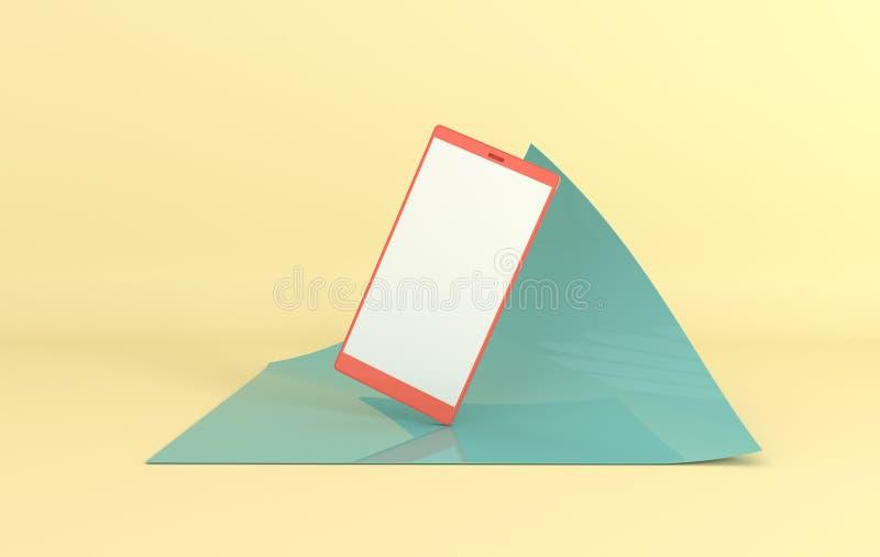 Предпосылка модель-макета смартфона в современном минимальном стиле Frameless мобильный телефон 3d представить в пастельных цвета бесплатная иллюстрация