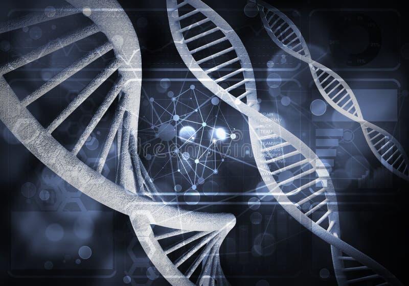Предпосылка молекул ДНК стоковое изображение