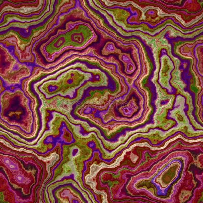 Предпосылка мраморного агата каменистая безшовная - цвет горячего пинка, пурпура, magenta и зеленых - грубая поверхность иллюстрация вектора