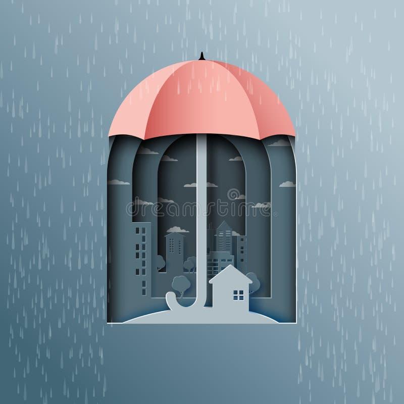 Предпосылка муссона с зонтиком защищает город от дождя иллюстрация штока