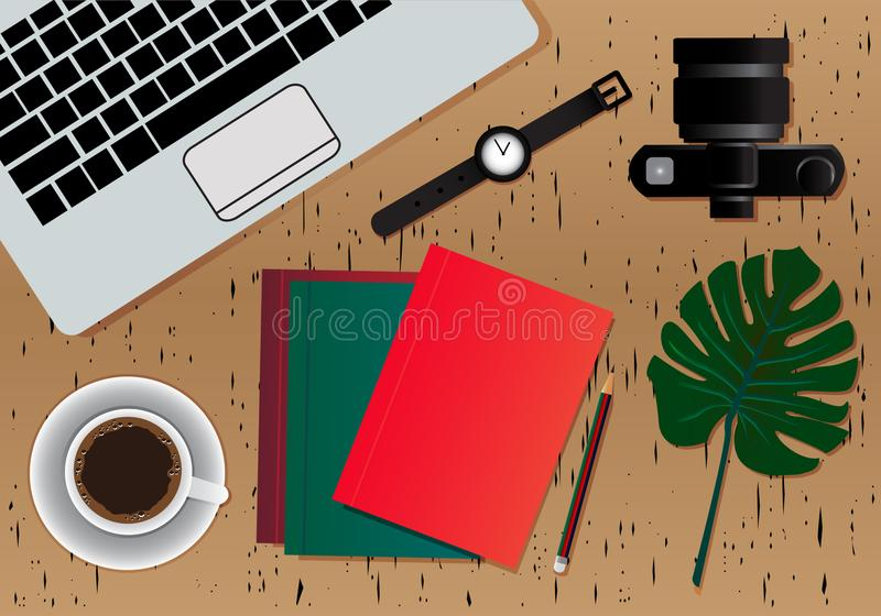 Предпосылка настольного компьютера рабочего места Взгляд сверху таблицы Верхняя поверхность со для цветом Брауна древесин, предпо иллюстрация штока