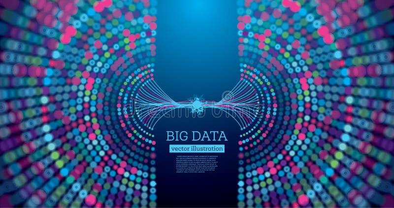 Предпосылка науки больших данных футуристическая с космосом экземпляра иллюстрация штока