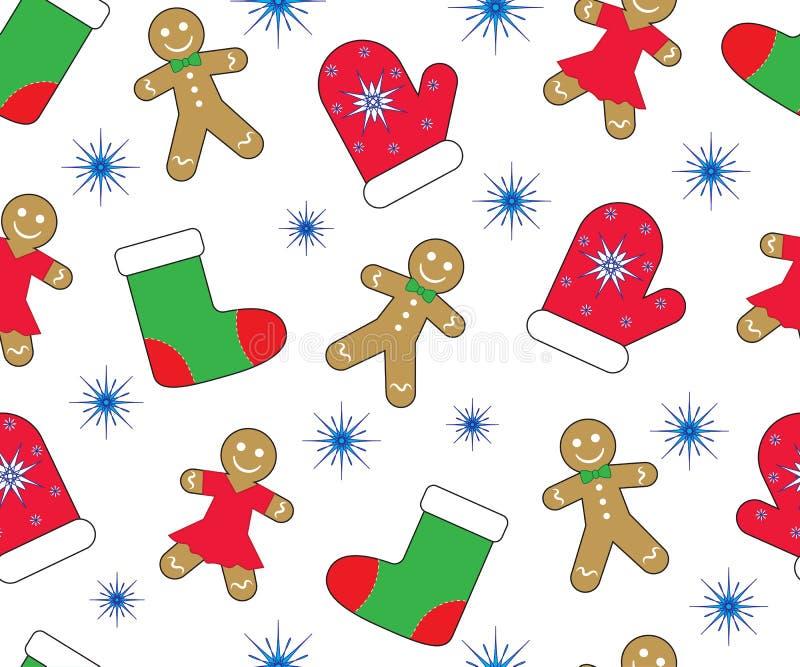 Предпосылка Нового Года рождества, безшовная картина Пряники, mitten, чулок и снежинка вектор иллюстрация вектора