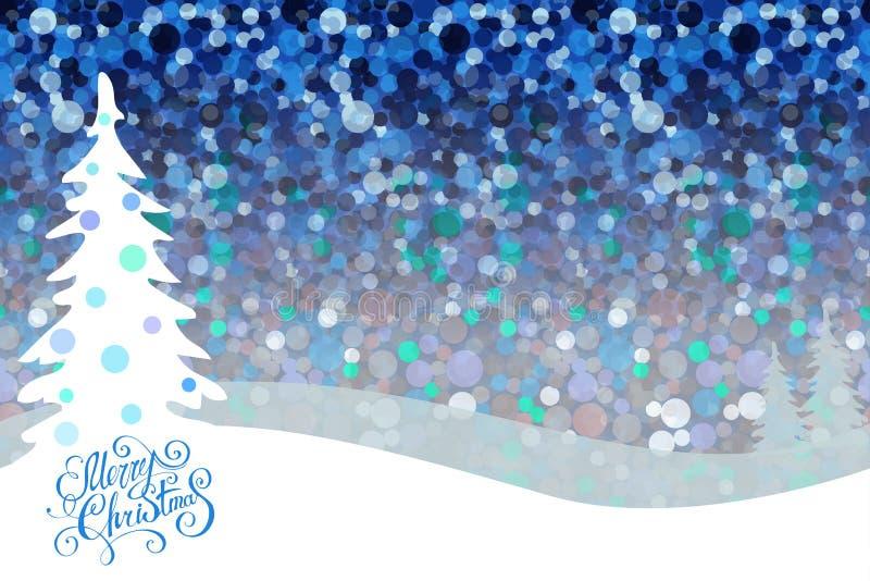 Предпосылка ночи рождества с елями и снегом, темно-синим небом Дизайн праздника, оформление плакат рождества веселый иллюстрация вектора