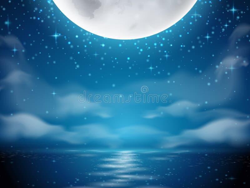 Предпосылка ночи с луной и морем иллюстрация штока