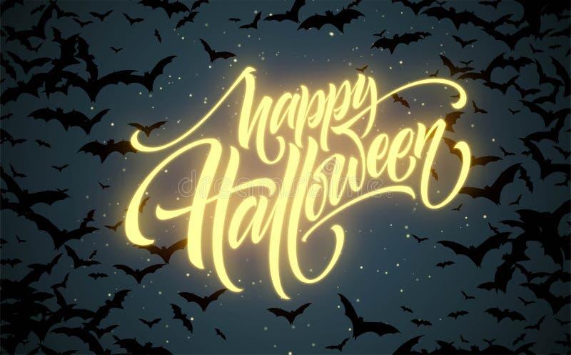 Предпосылка ночи хеллоуина накаляя с летучими мышами Каллиграфия, помечая буквами также вектор иллюстрации притяжки corel иллюстрация вектора