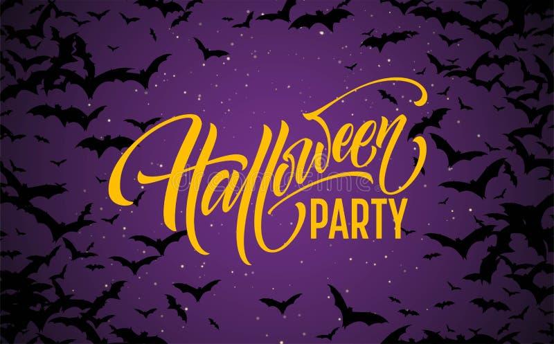 Предпосылка ночи хеллоуина накаляя с летучими мышами Каллиграфия, помечая буквами также вектор иллюстрации притяжки corel бесплатная иллюстрация