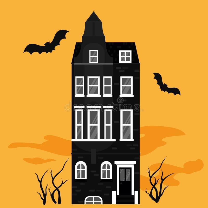 Предпосылка ночи хеллоуина со страшным знаменем замка и летучих мышей, поздравительной открыткой, плакатом партии Пугающий силуэт иллюстрация вектора