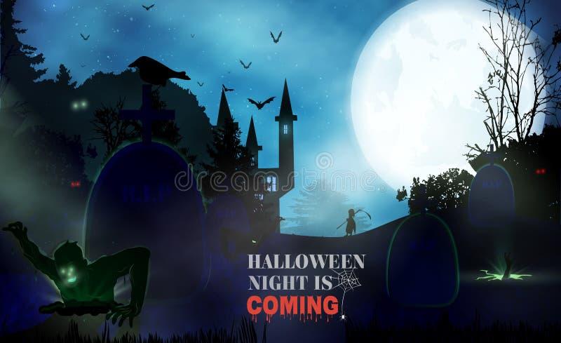 Предпосылка ночи хеллоуина с тыквой, преследовать домом и полнолунием Шаблон рогульки или приглашения для партии хеллоуина Vector иллюстрация вектора