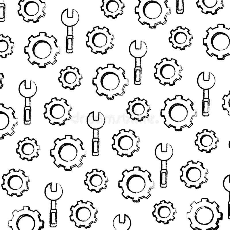 Предпосылка оборудования ключа Grunge и шестерни индустрии иллюстрация вектора