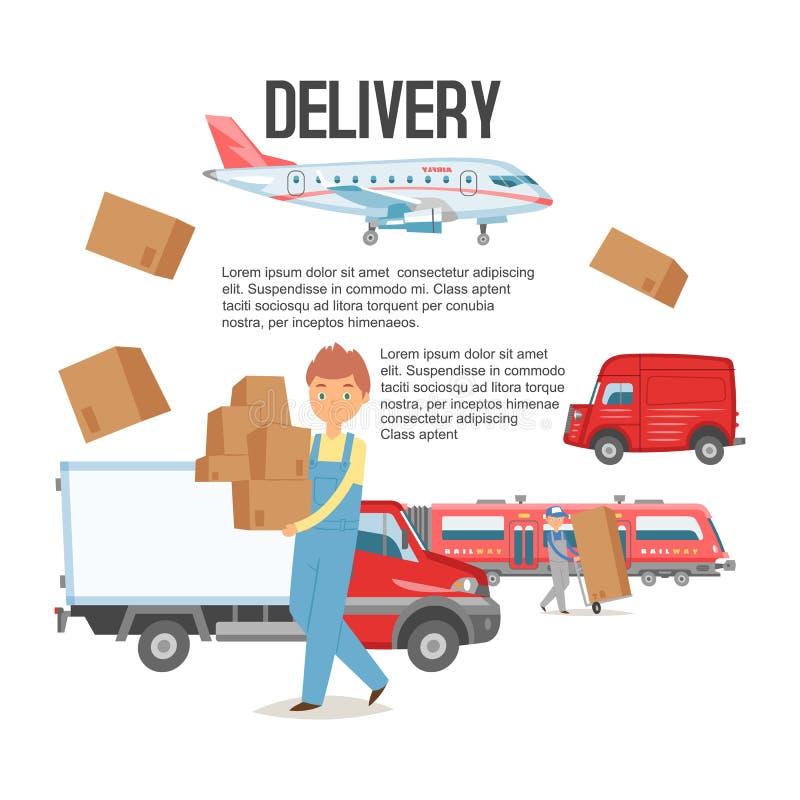 Предпосылка обслуживания доставки Человек держа иллюстрацию вектора знамени коробок Поставлять пакеты Положение мужского характер иллюстрация вектора