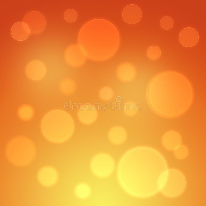 Предпосылка оранжевого желтого цвета осени красная накаляя с bokeh иллюстрация вектора